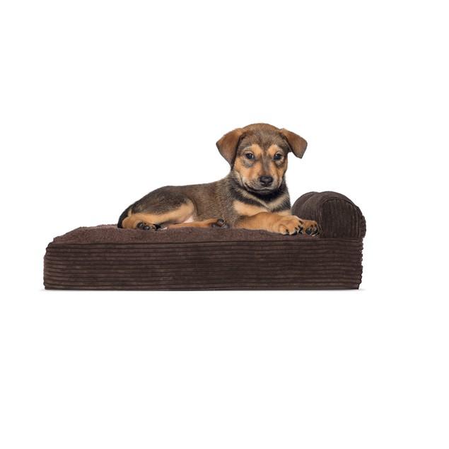 FurHaven Faux Fleece & Corduroy Chaise Lounge Orthopedic Pet Bed