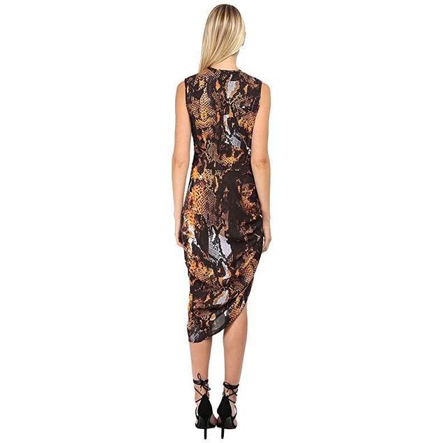 McQ Women's Asymmetrical Gathered Dress Amber Snake 36 (US 0)
