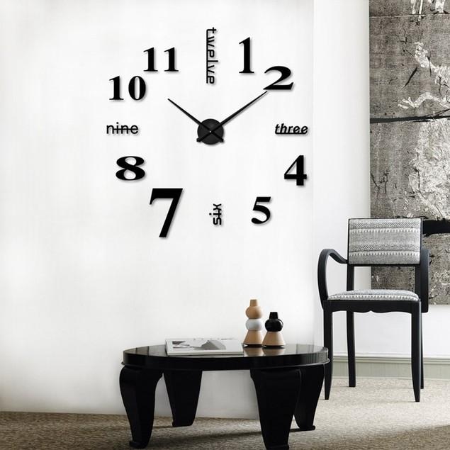 Acrylic Modern DIY Wall Clock 3D Mirror Surface Sticker Home Office Decor