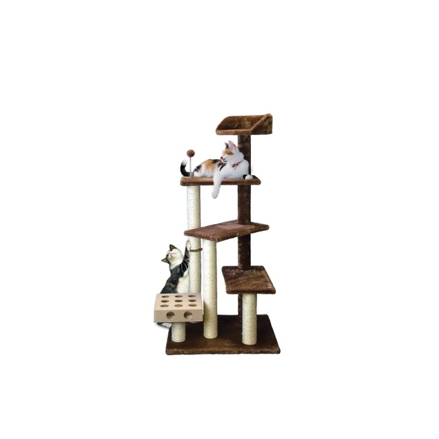 FurHaven Tiger Tough Play Stairs with Cat-IQ Busy Box