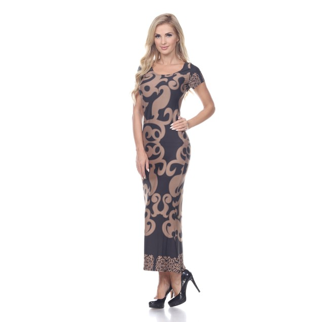 Raven Maxi Dress - Beige Black