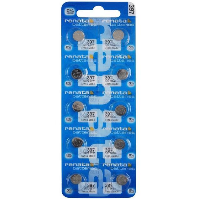 Renata 397 (SR726SW) Silver Oxide Watch Batteries (10 Pack)