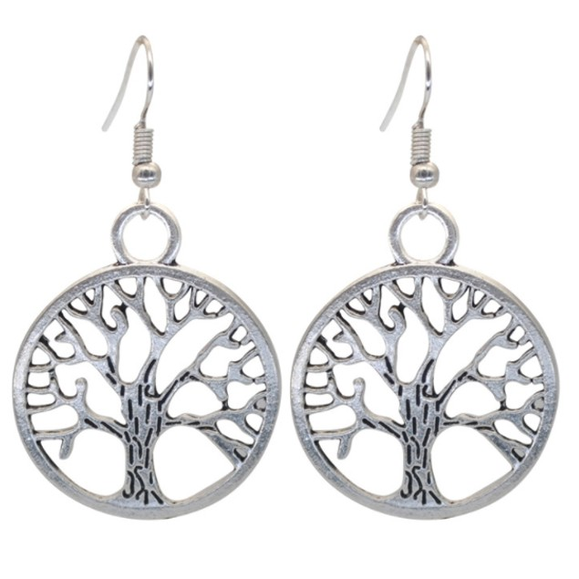 18Kt White Gold Tree Of Life Earrings