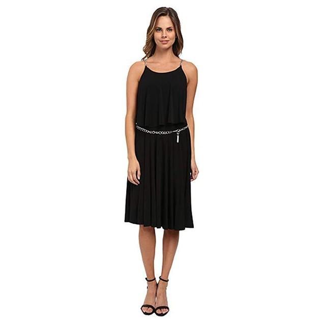 MICHAEL Michael Kors Women's Chain StripeTiered Dress Black/Silver 8