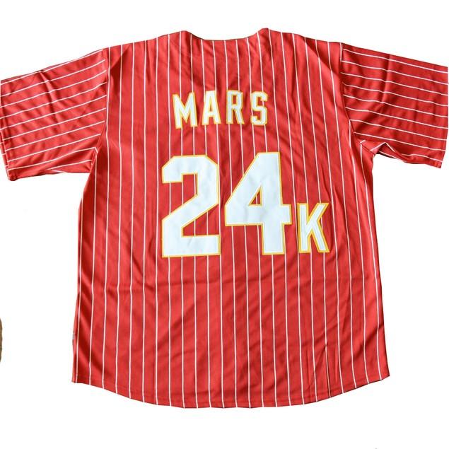 Mars 24K Hooligans RED Baseball Jersey