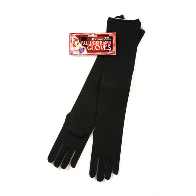 Long Black Nylon Gloves (Pair) Womens Flapper Costume Accessory Full Length