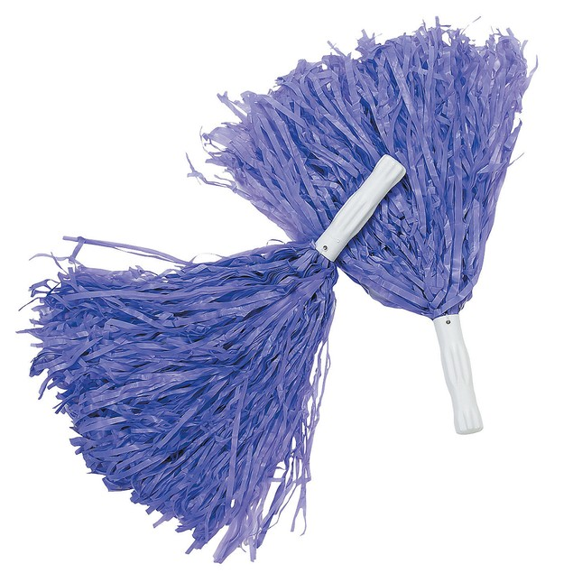 Purple Pom-Poms (Pair) Cheerleader Cheer Leader Squad Pep Costume Accessory
