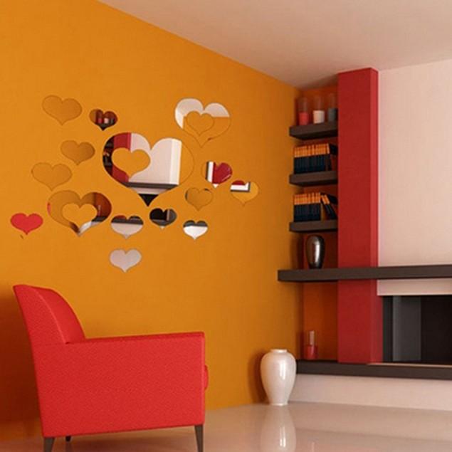 16Pcs/Set Love Heart Hollow 3D Mirror Wall Art Sticker Decal