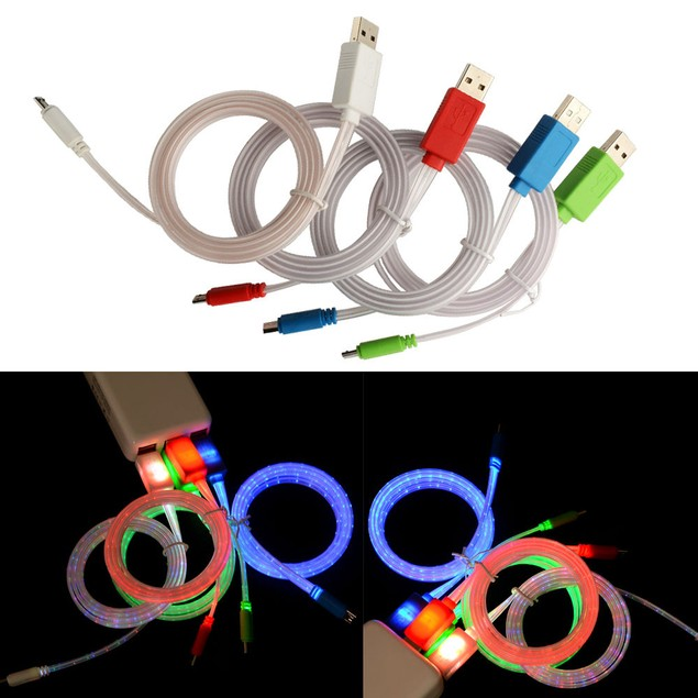 LED Light Micro USB Charger Data Sync Cable for S4 S5 Android