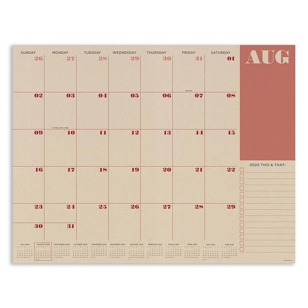 July 2020 - June 2021 Large Desk Pad Monthly Blotter Calendar
