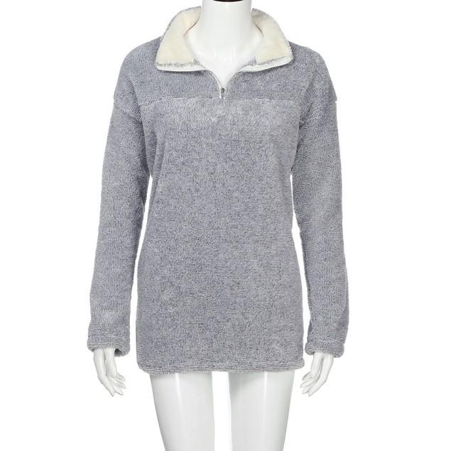 Women Zip Pullover Pile Stadium Sweatshirts Fleece Plush Warm Tops Blouse