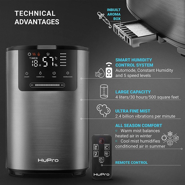 Premium Ultrasonic Cool & Warm Mist Humidifier