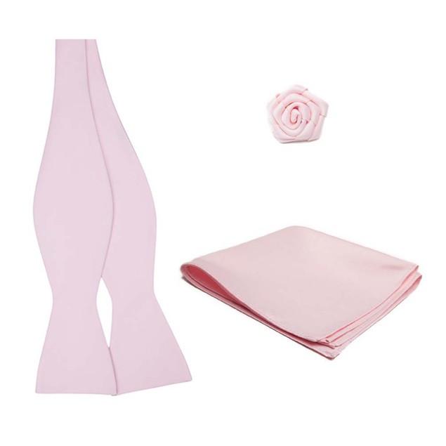 Self Tie Bowtie Hanky Open Rose Lapel Flower 3 pc Set