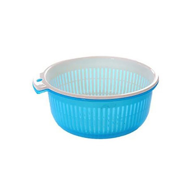 Double Layer Kitchen Vegetable Cleaning Washing Drain Storage Basket