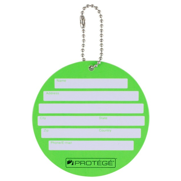 Protege Neon Round EZ ID Travel Baggage Suitcase Luggage Tags - 2 Pack