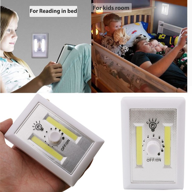 Dimmable COB LED Wall Lighted Switch Wireless Closet Night Light Multi-Use