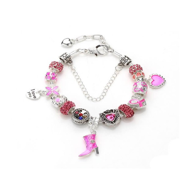 Novadab Pink Ribbon Breast Cancer Awareness Charms Bracelet