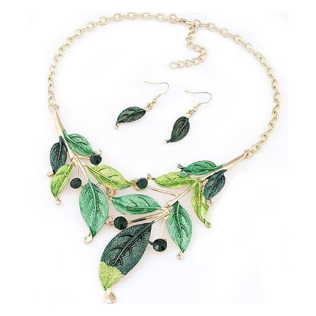 Vintage Leaf Collar Crystal Necklace Set