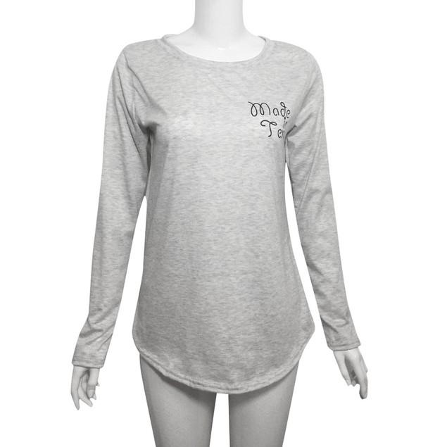 Women Christmas Long Sleeve Letter Printed Splicing T-Shirt