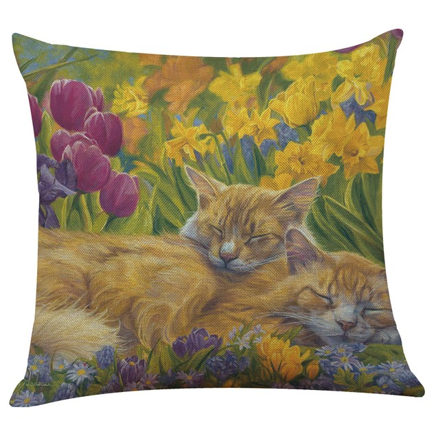 Cute Cat Sofa Bed Home Decoration Festival Pillow Case Cushion Cover F