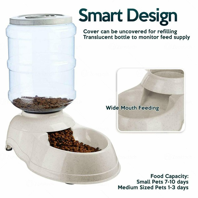 Zone Tech Automatic Self Dispensing Gravity Pet Food Bowl Feeder 1 Gallon