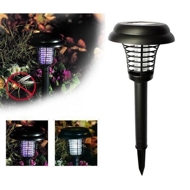 Solar Powered LED Light Mosquito Pest Zapper Insect Killer Lamp Garden Lawn