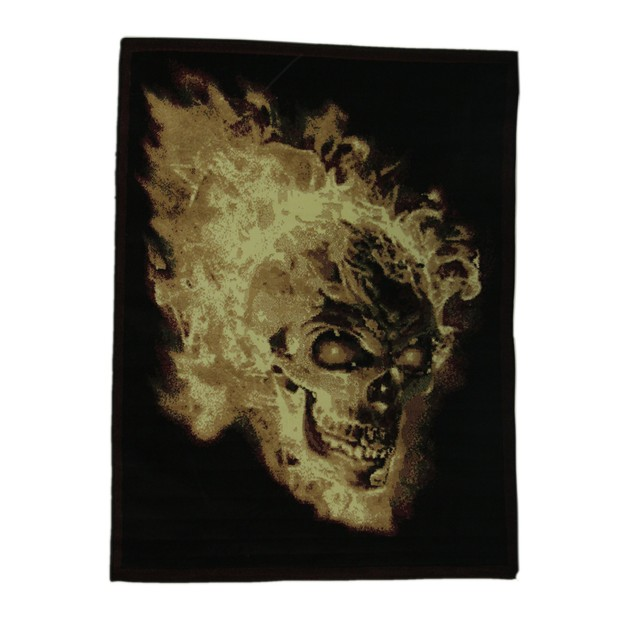 Black Flaming Evil Skull 5 X 7 Inch Area Rug With Area Rugs