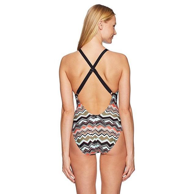 LOLE Women's Madeirella Onepiece, Lichen Chevron Stripe,  SZ: Medium