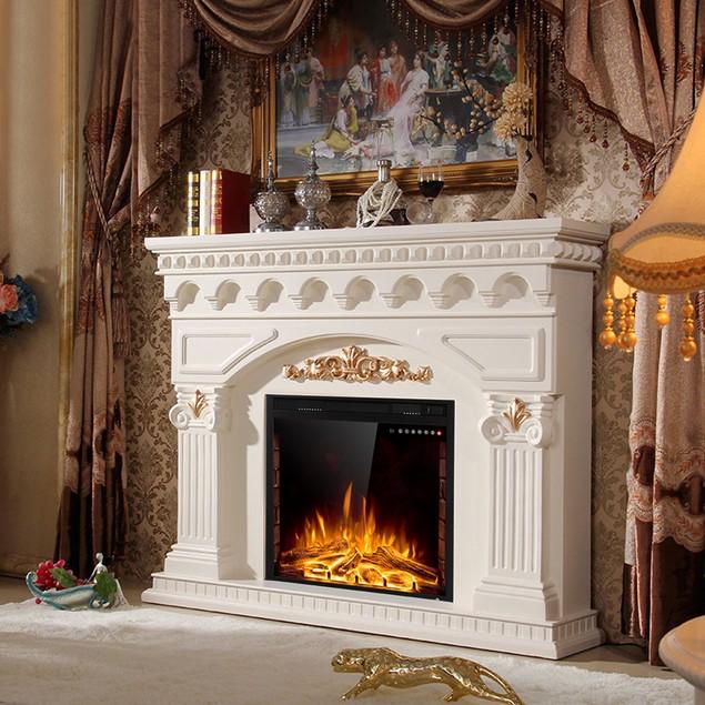 Costway 26'' 750W-1500W Fireplace Electric Embedded Insert Heater Glass Log