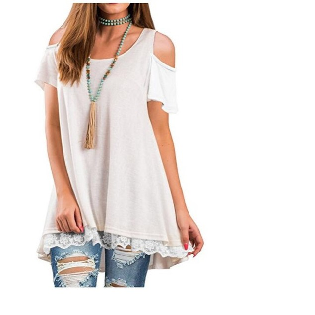 Cold Shoulder Lace Trim Top