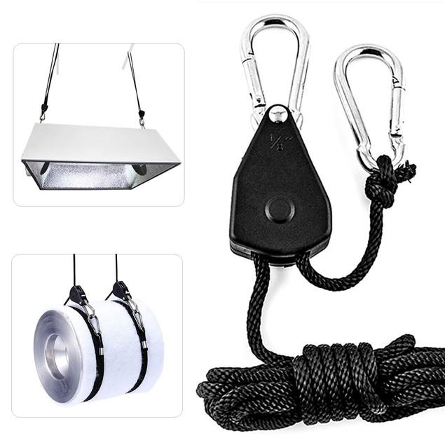 1 Pair Growing Light Rope Ratchet Lifters Reflector Hangers Hook