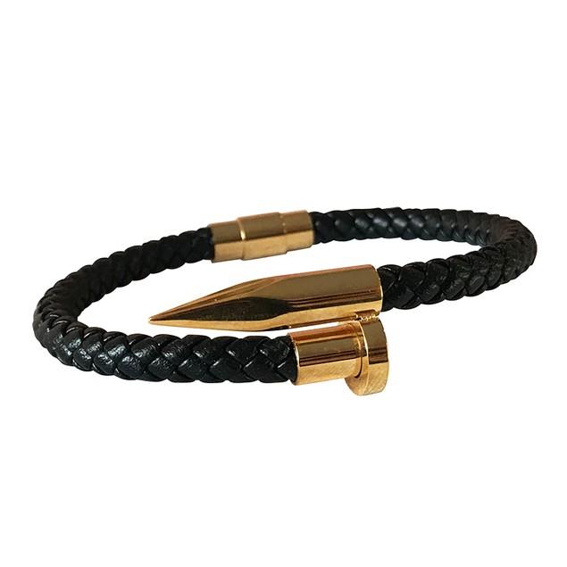 Mens Nail Weave Leather Gold CZ Jewelry Bracelet