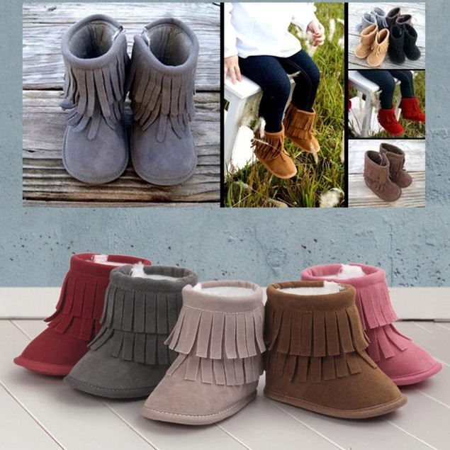Baby Double-Deck Fringed Toddler Booties