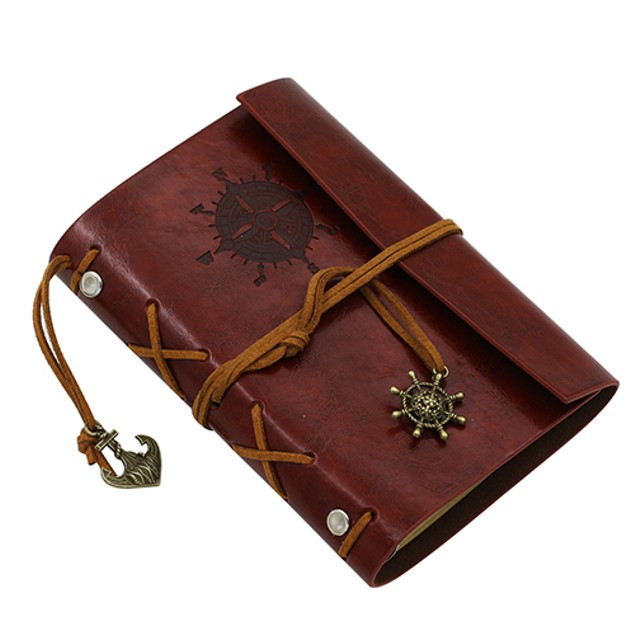 Anchor Faux Leather Cover Notebook Journal Diary Blank String Nautical