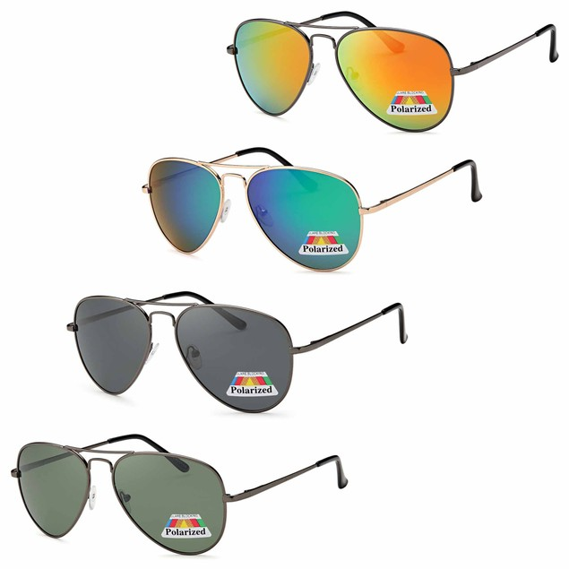 4 PACK Classic Fashion Polarized Aviator Lenses Sunglasses 4 Colors Pack