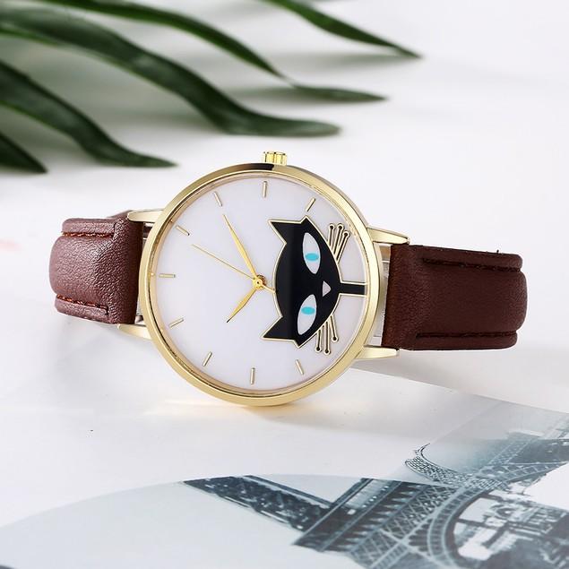 Women Leather Band Analog Quartz Round Wrist Watch Watches B63