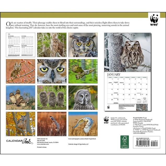 Owls WWF Wall Calendar