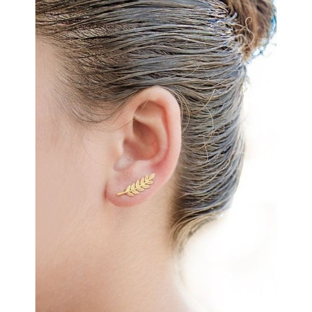 18K Gold Leaf Ear Climber