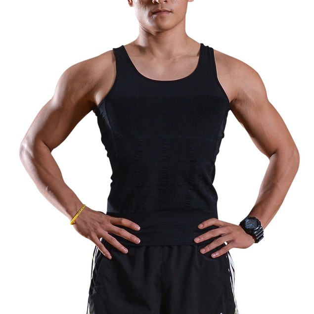 Men Slimming Shirt Tummy Waist XL black (slim and shape bodies)