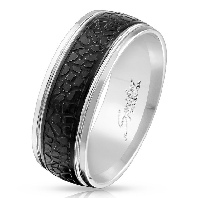 Snake Pattern Black IP Center Stainless Steel Ring