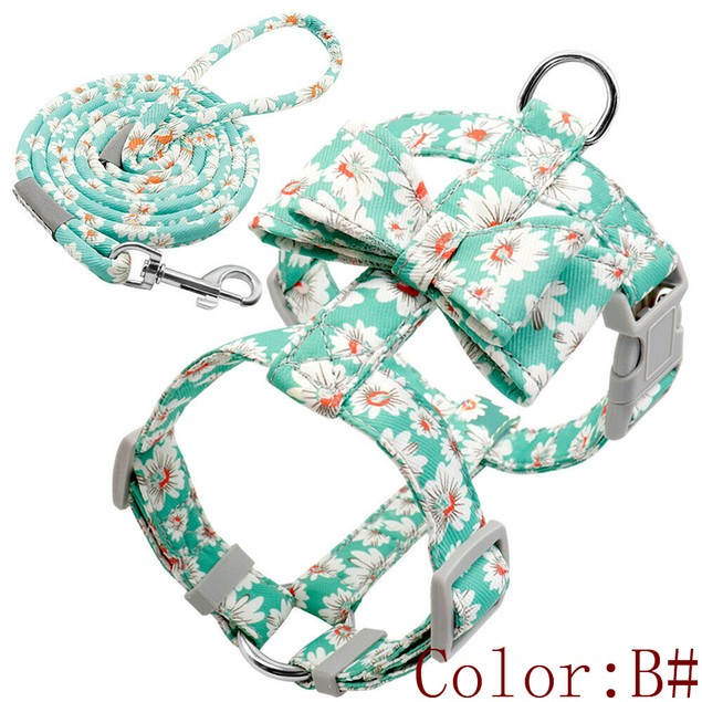 Pet Fashion Floral Dog Strap Harness and Leash