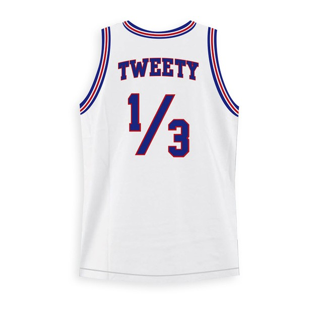 Tweety Bird #1/3 Tune Squad White Basketball Jersey