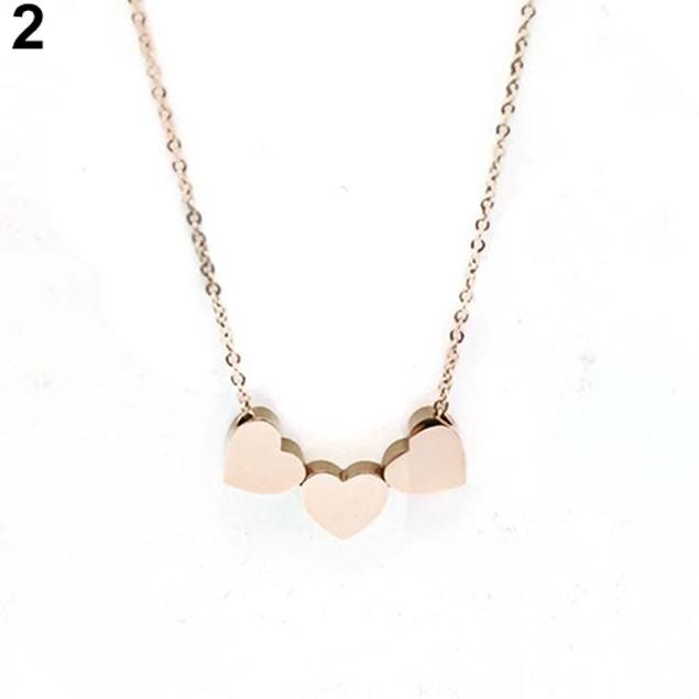 Women Three Love Heart Chain Pendant Necklace
