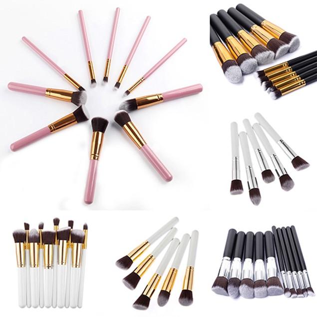 10Pcs Makeup Cosmetic Tool Eyeshadow Powder Cheek Brush Set