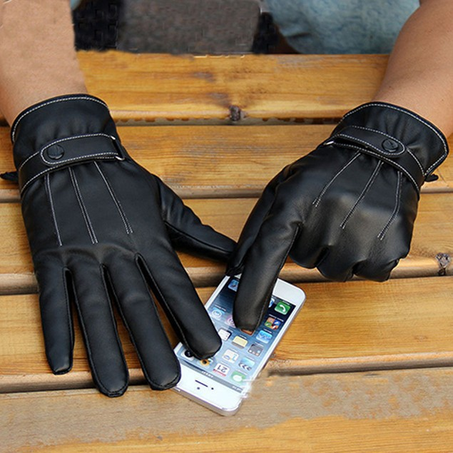 Men Fashion Winter Faux Leather Full Finger Gloves