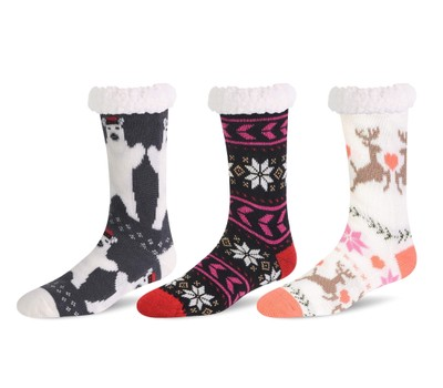 3 Pairs of Women's Sherpa-Lined Thermal Non-Skid Slipper Socks Was: $29.99 Now: $17.99.