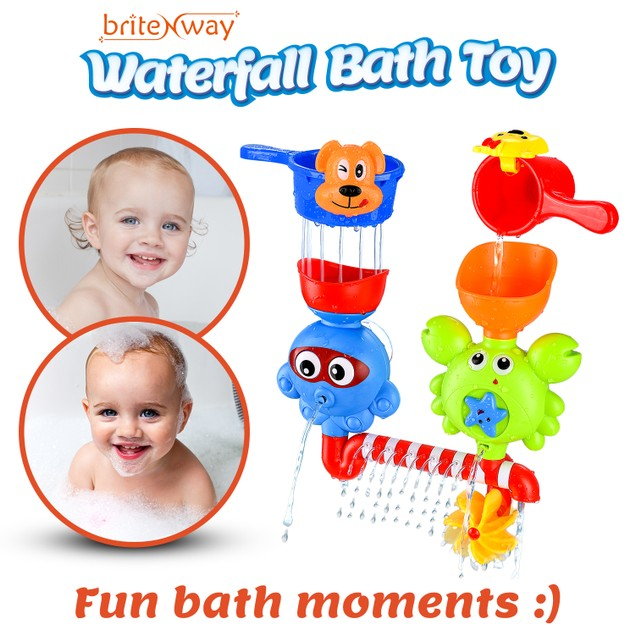 BritenWay Baby Bath Waterfall Toys With Two Stackable Cups