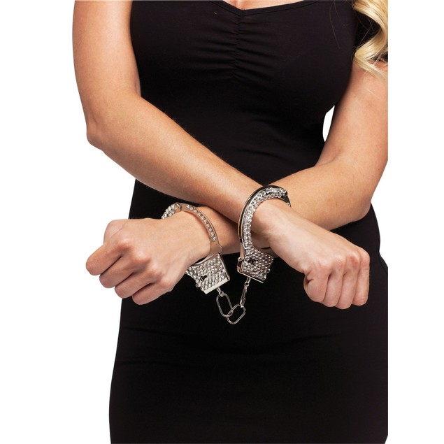 Rhinestone Handcuffs Police Officer Sexy Toy Cop Gem Metal Costume Prop