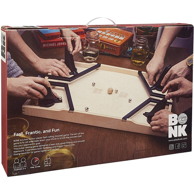 Bonk, The Fast Rolling Ricochet Game, Head To Head Action, Wooden Ball,