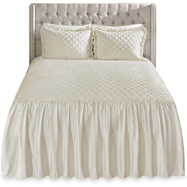 Madison Park Roxanne 3-Piece Faux Luxury Velvet Drape Bedspread Set, King,